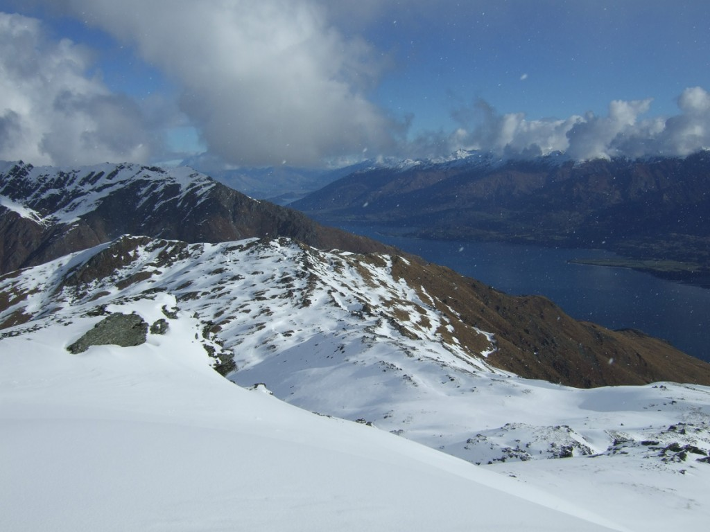 Lake Wanaka fm Pt 1729, Pt 1579 in the background. Descent to Jeep over the top of pt 1579 and to right