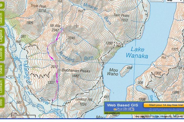 overview map of Mt Alta-Buchanan traverse