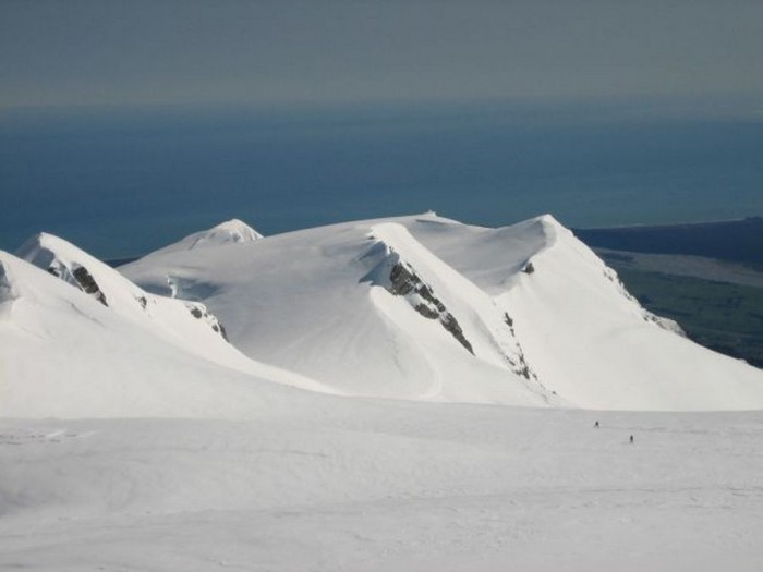 Skiing down to Zubbriggen Col with Mt Roon on right and Moltke in background left