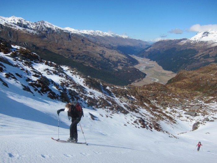 Skinning up from basins at top of CLarke Slip - Rees valley in behind