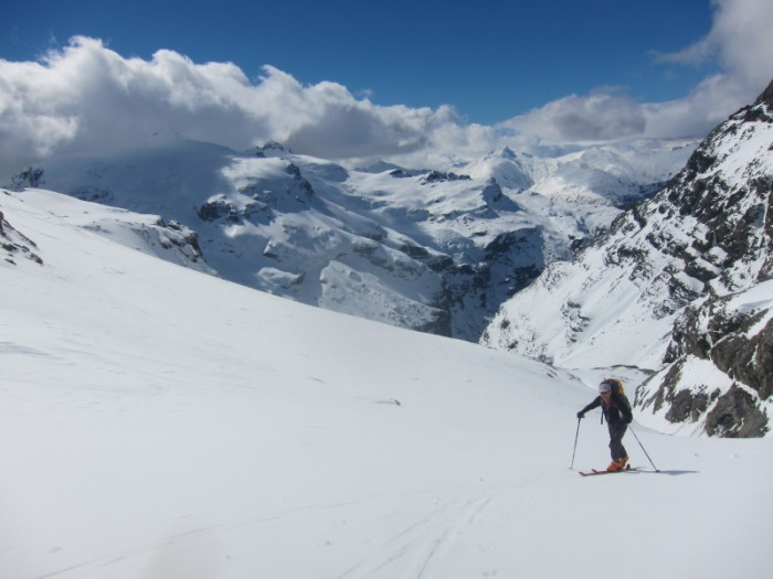 Cruisy slopes before last steep bootpack to Cerberus col