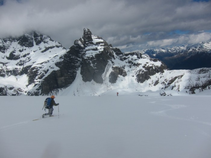 Marc skiing down the Frances - Pluto in behind