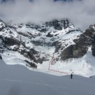 On Frances Glacier looking to route up the Bedford