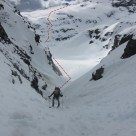 Mark skinning up the gully