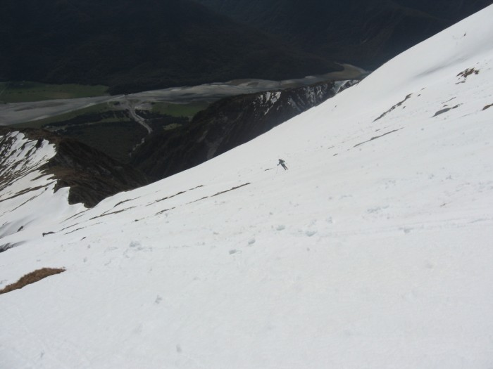 Dropping into the Makarora valley