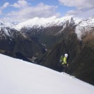 Ski touring McKerrow Range, Young range in background with East branch Camerons Creek