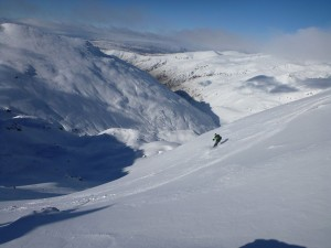 "Skiing East facing slopes of the ""Doolans"", Remarkables back country ski touring"