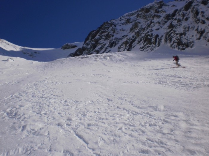 Skinning at about 1900m heading toward the bottleneck on Mt Sibbald