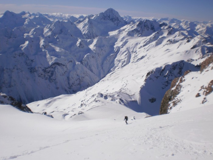 Skiing Mt Sibbald, Mt DÁrchaic in background