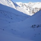 Skiing down the Upper Cass Valley at about 1700m on a poor snow year
