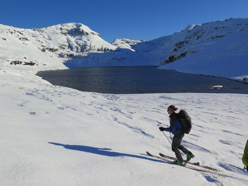 Ski touring around Blue Lake, Garvie Mountains