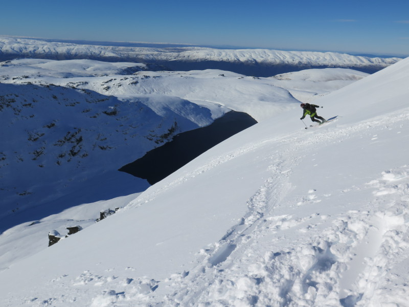 Skiing above Blue Lake in the Garvie Mountains, north face of pk 1750