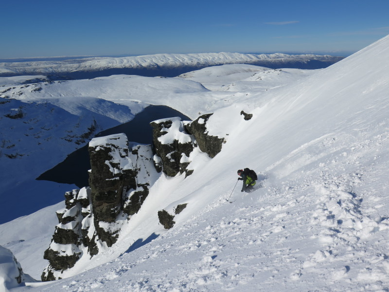 Skiing pk 1750 nth face in the Garvie Mountains, Old Man Range in background