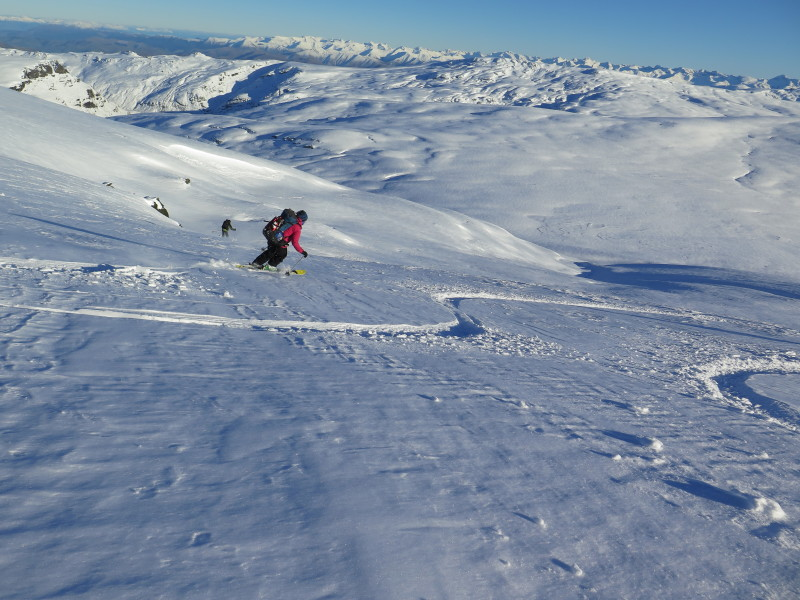 Skiing west in the Garvies, looking SE direction, Takatimu mountains in far distance